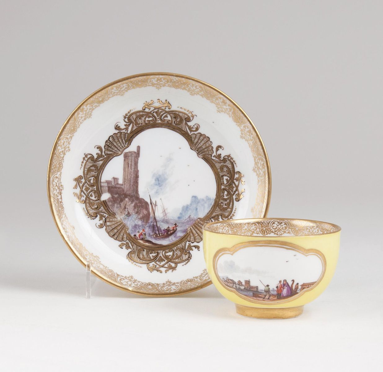 A Cup with Yellow Ground and Landscape Scenes