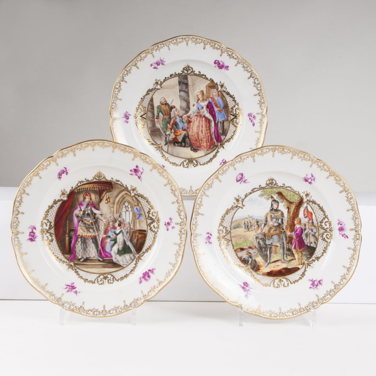 A set of 12 plates with historical scenes of life from 'Louis the Brandenburg''