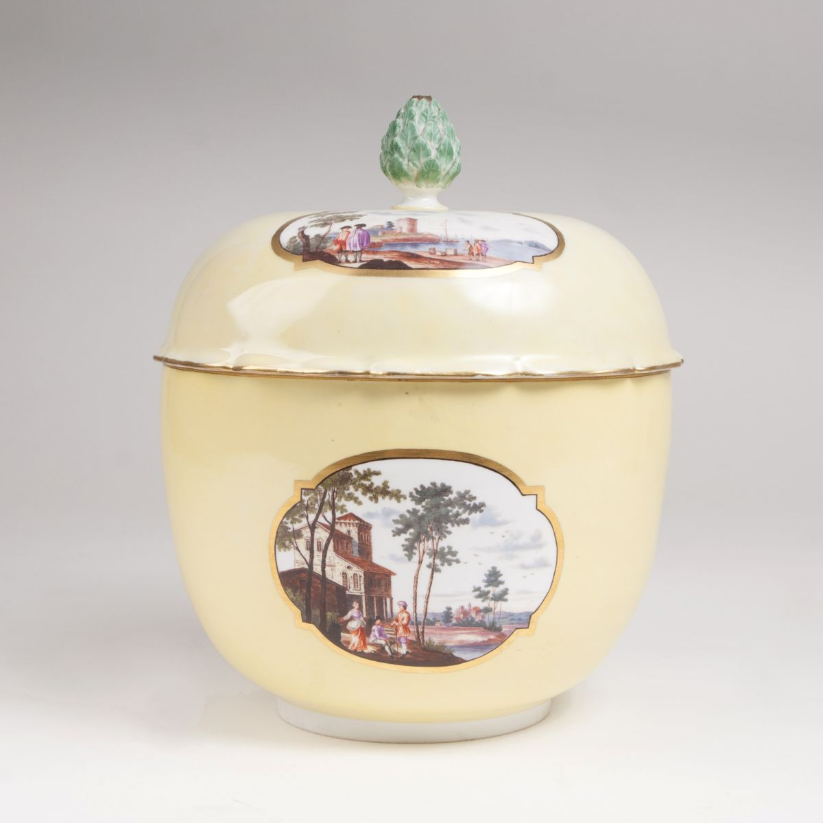 A lidded tureen with fine harbour scenes on yellow ground