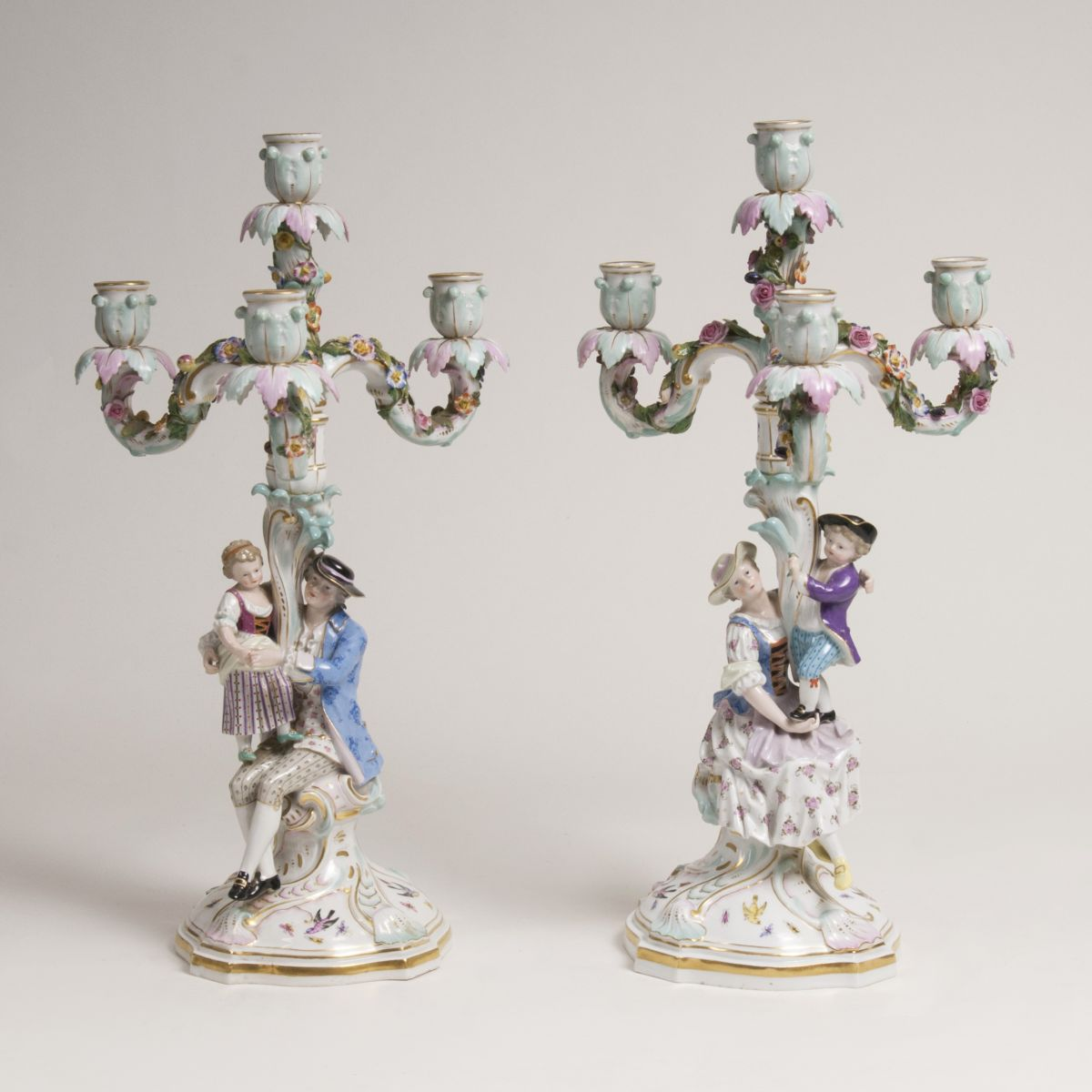 A Pair of Large 'Four-armed Figural Chandeliers 'Mother and Son' and 'Father and Daughter'