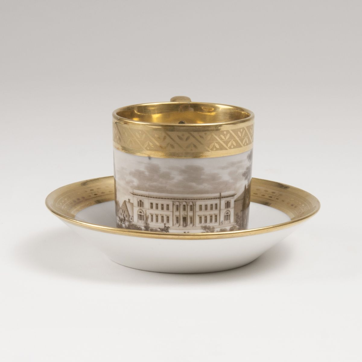 A Parisian Cup with View of a Castle in GrisailleTechnique