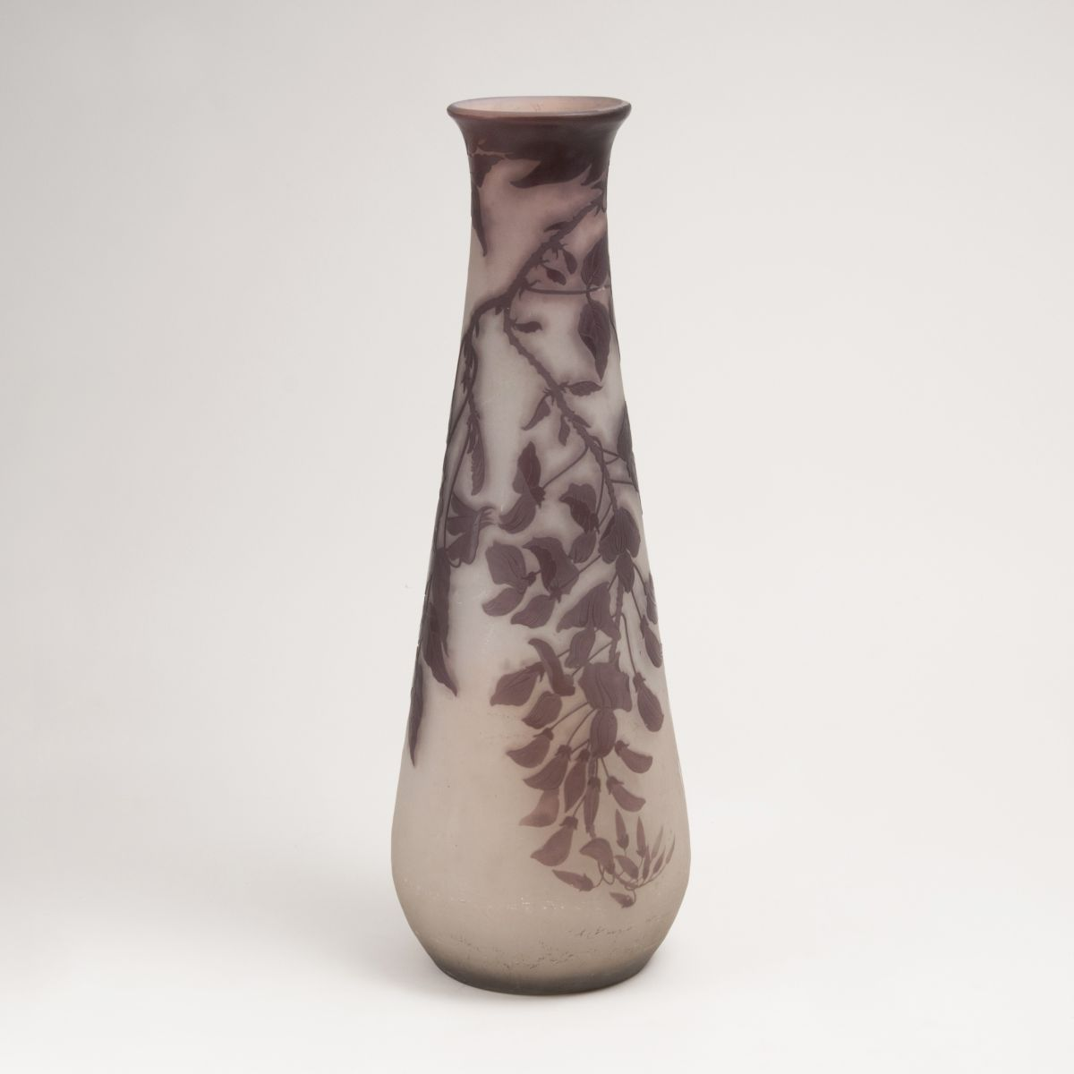 A Large Art Nouveau Gallé Vase with Wisteria