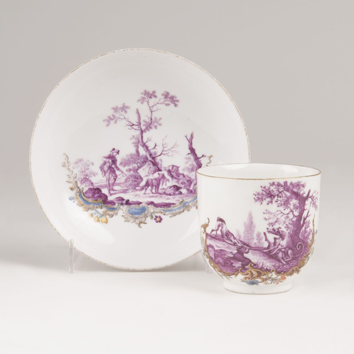 A Cup with Hunting Scenes in Purple Monochrome