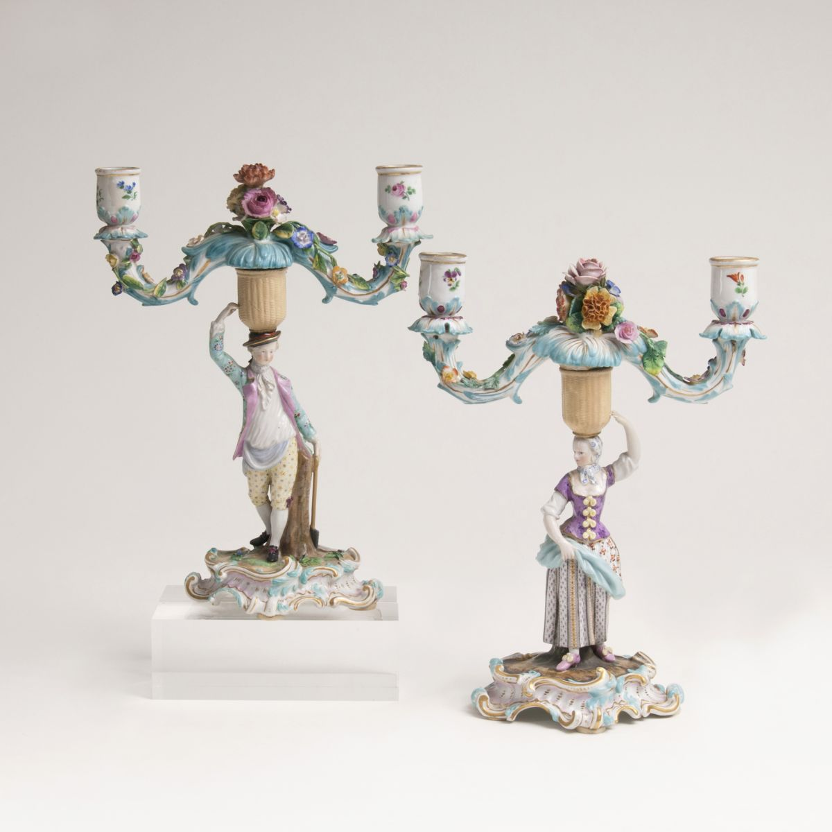 A Pair of Figural Chandeliers with Gardeners