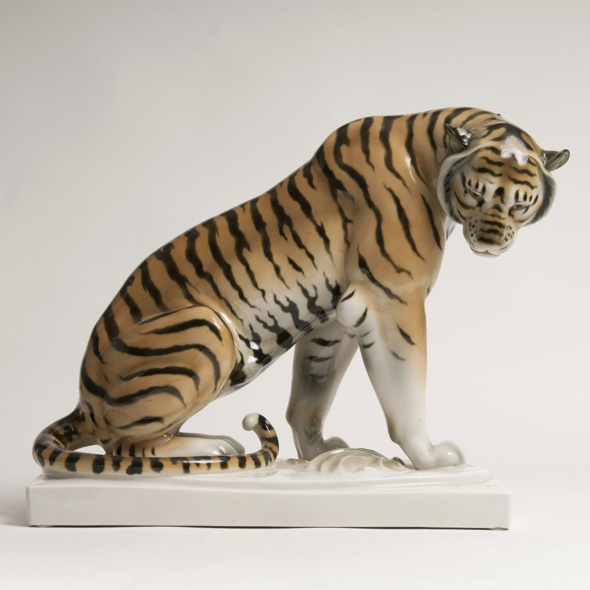 A Large Animal Figure 'Seated Tiger'