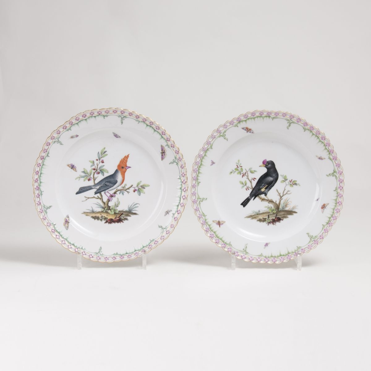 A Pair of Plates with Bird Painiting