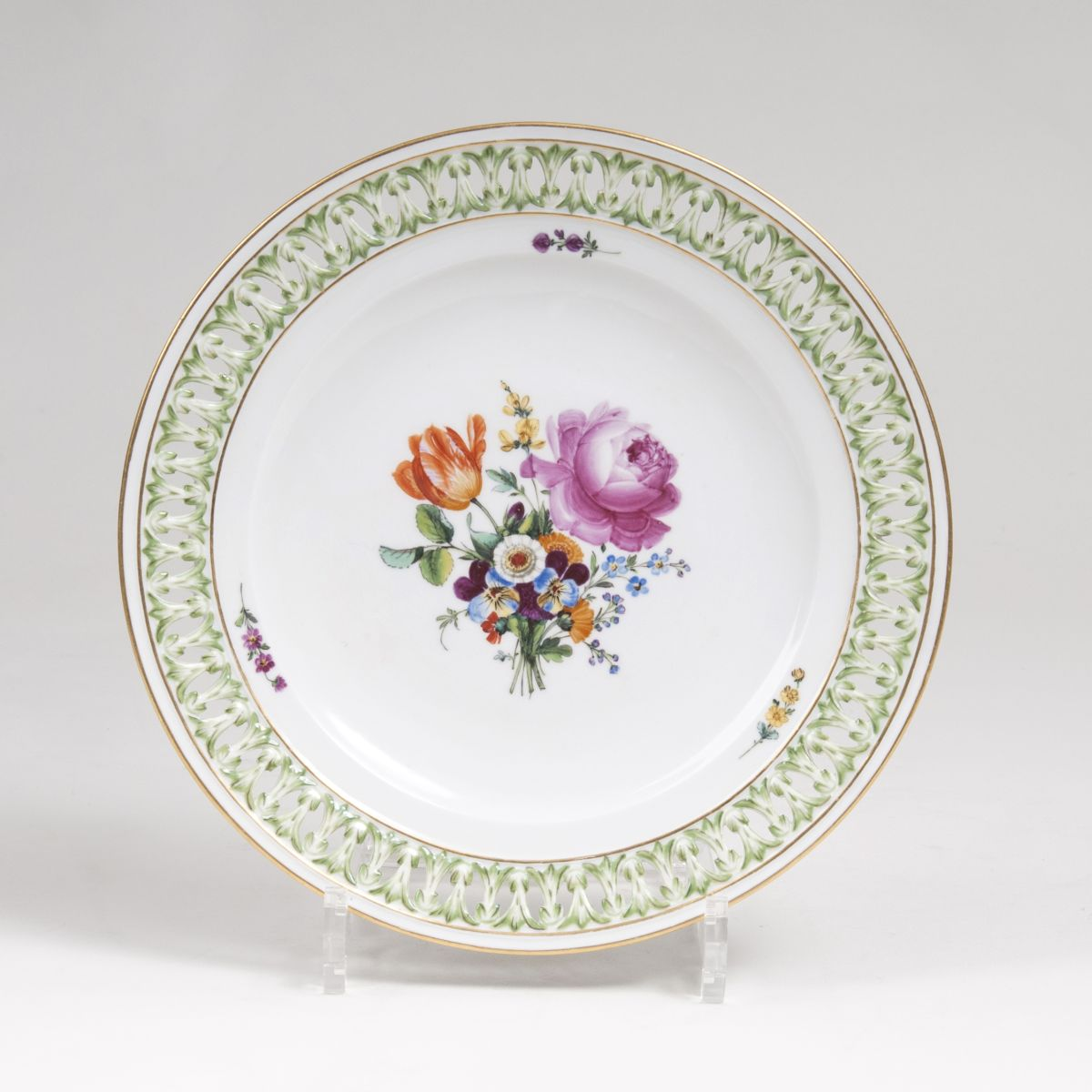 A Dessert Plate with Flower Painting