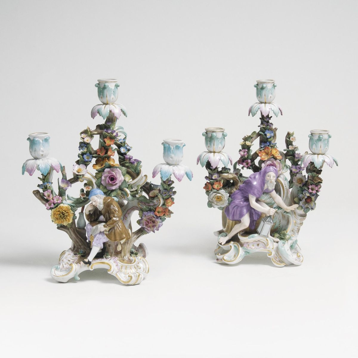 A Pair of figural Chandeliers 'Diogenes and Paracelsius'