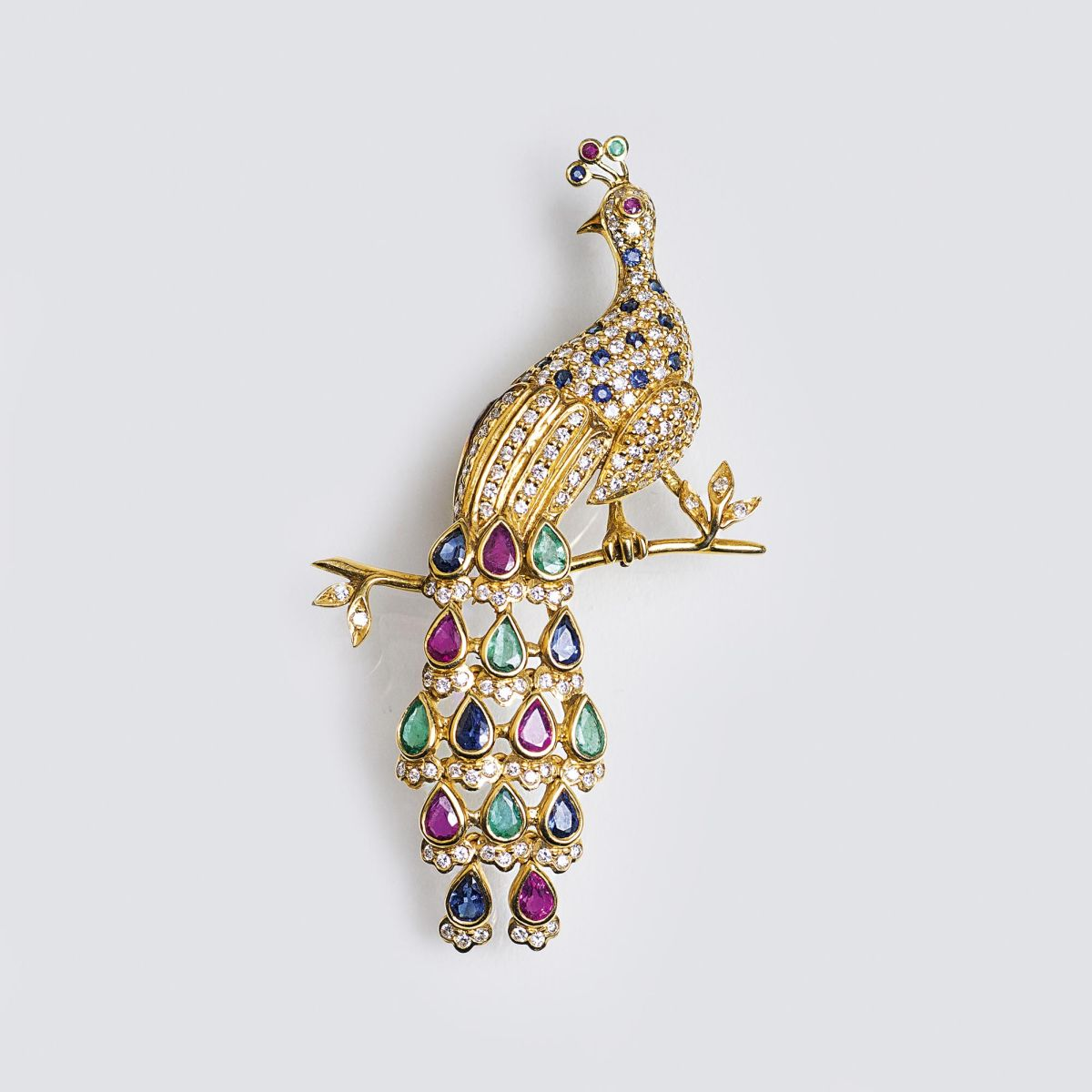 A Vintage Brooch with Diamonds and Coloured Gemstones