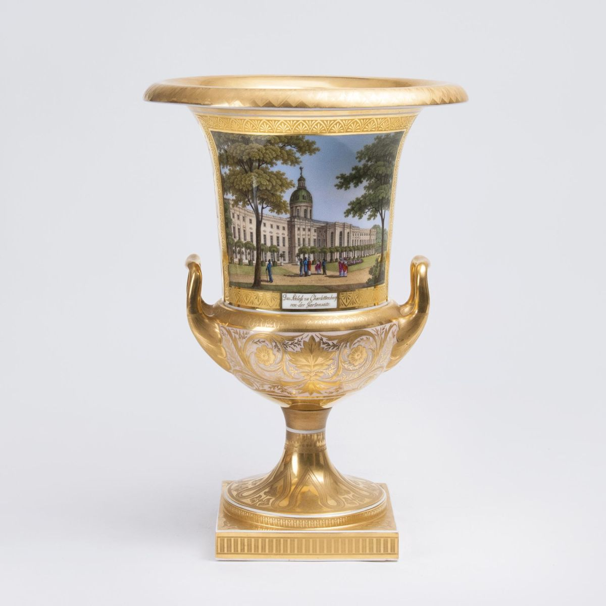 A rare Crater Vase with Views of Charlottenburg Palace and Isle of Louise in Berlin