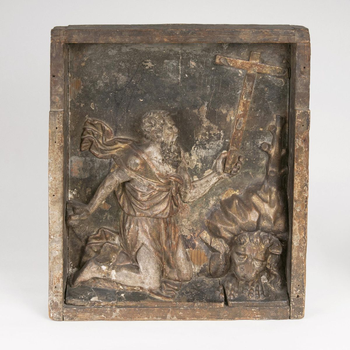 A Wooden Relief 'Saint Jerome in the Wilderness'