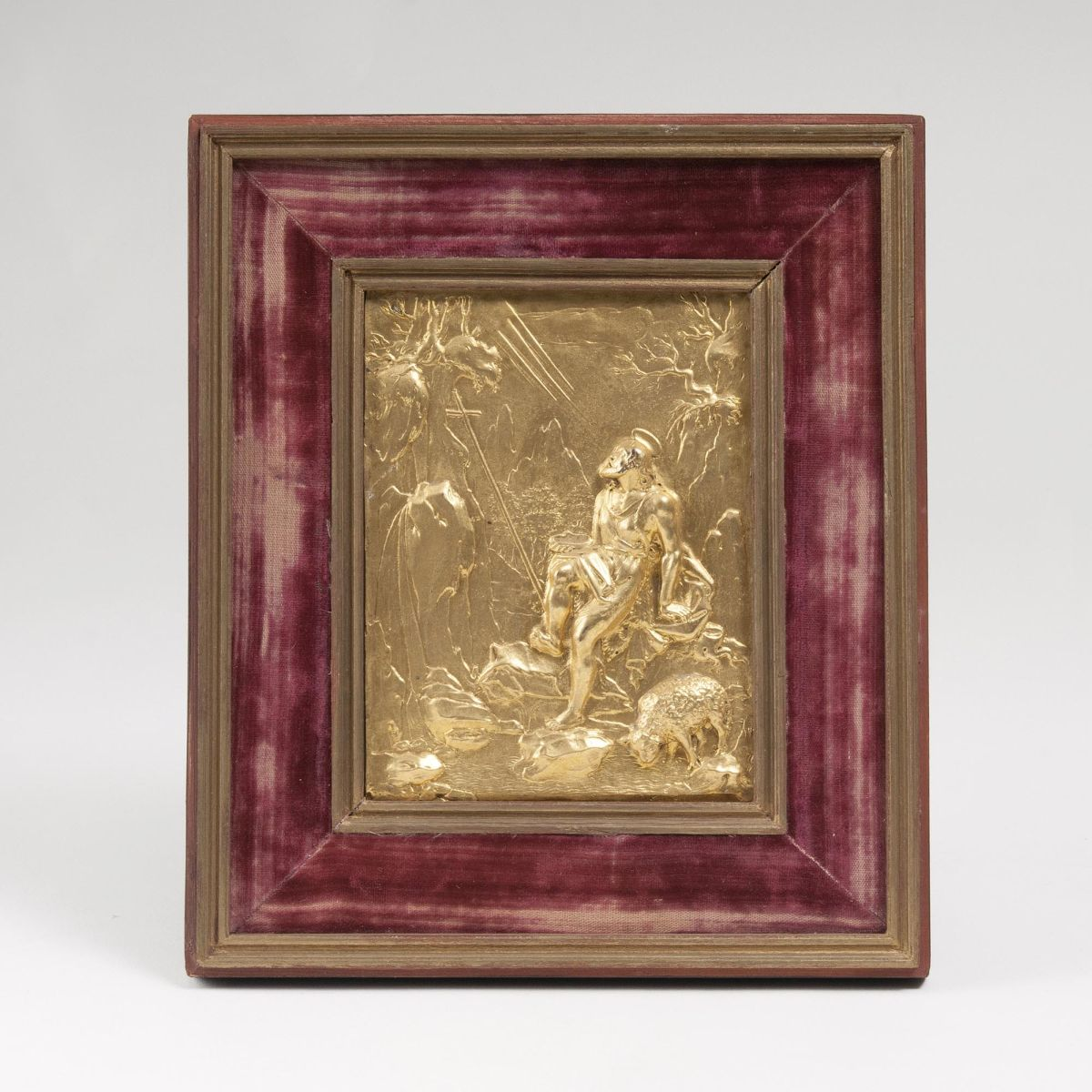 A fine Reliefed Plaque 'John the Baptist in the Desert'