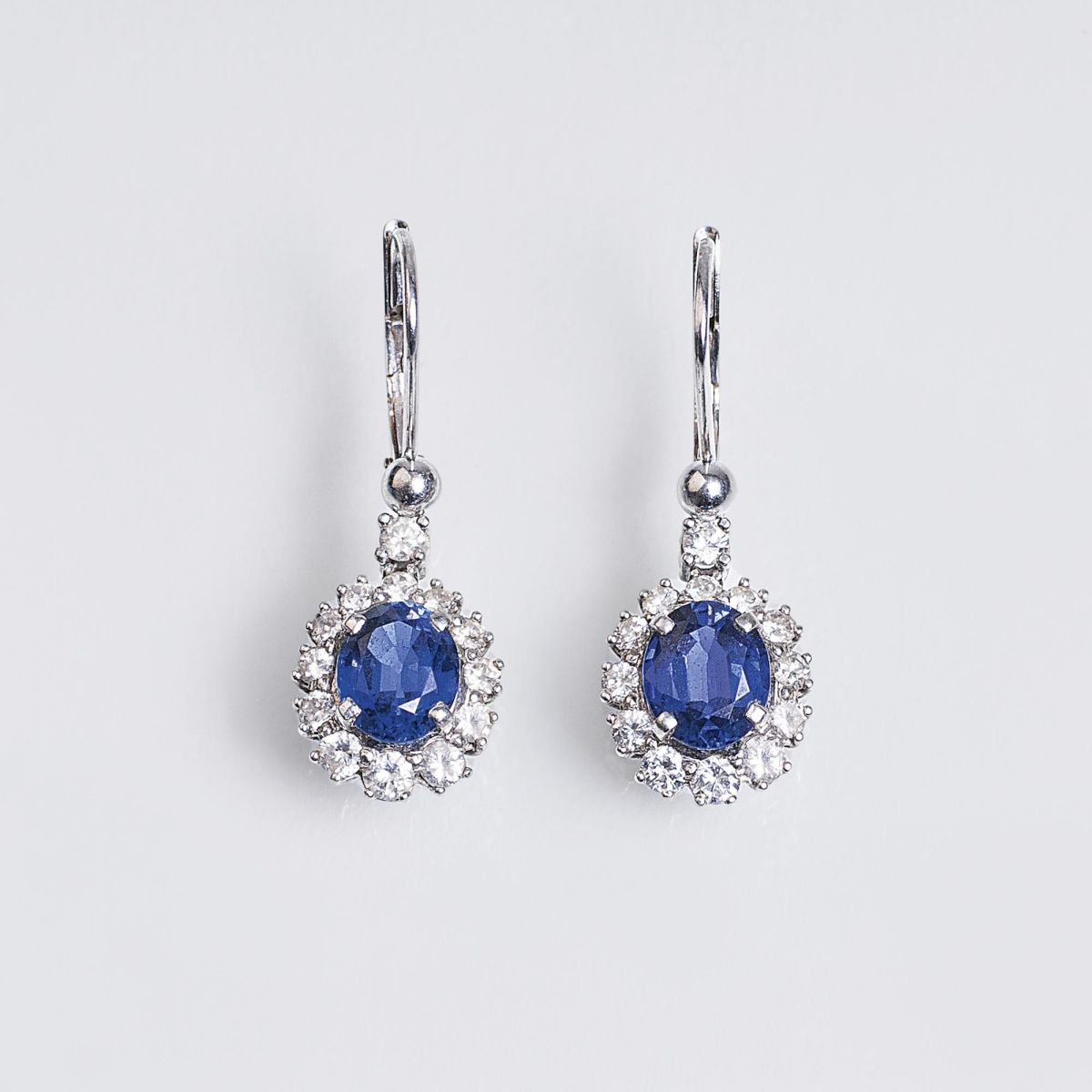 A Pair of Sapphire Diamond Earpendants