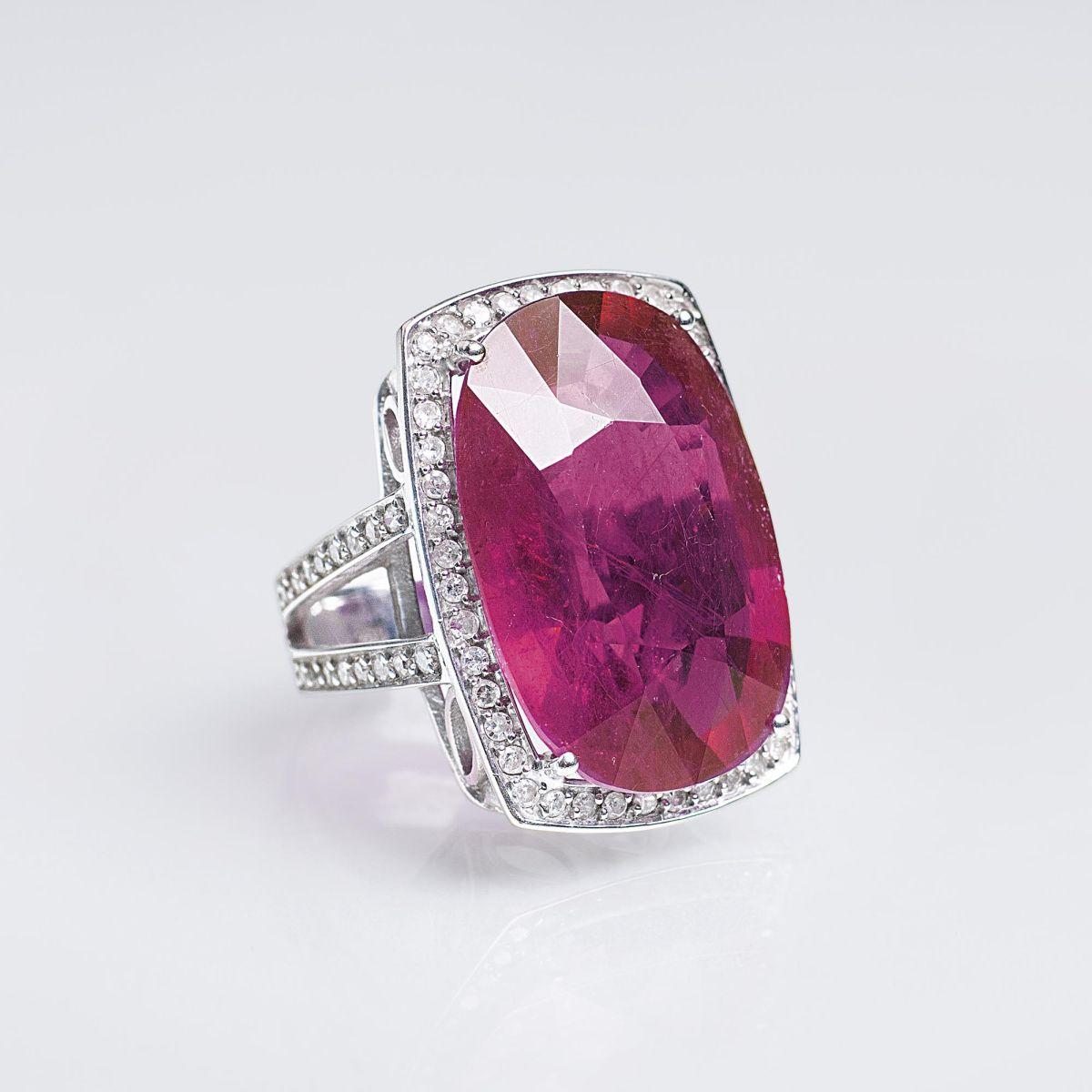 A Large Ruby Diamond Ring