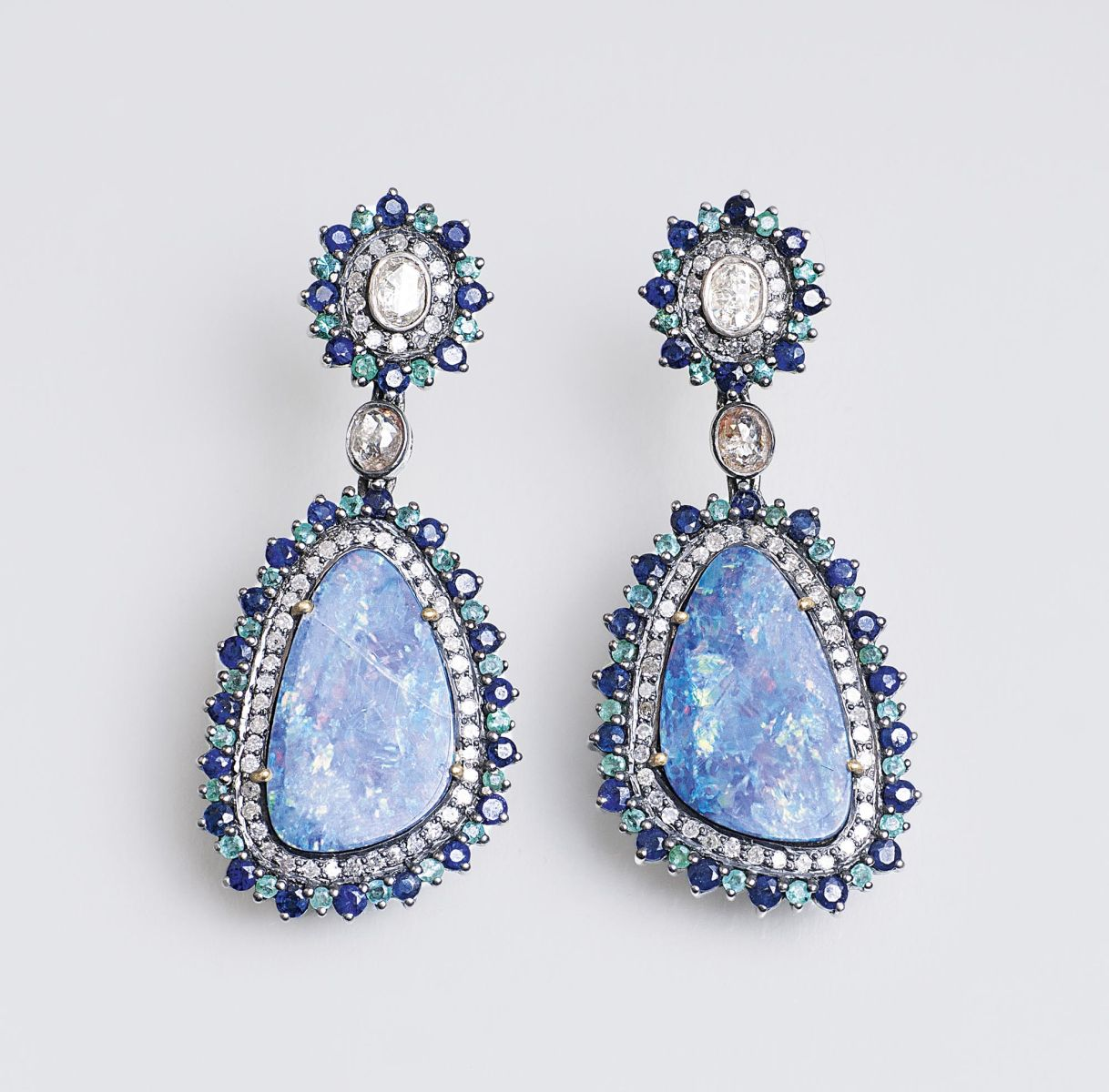 A Pair of Opal Diamond Earpendants with Emeralds and Sapphires