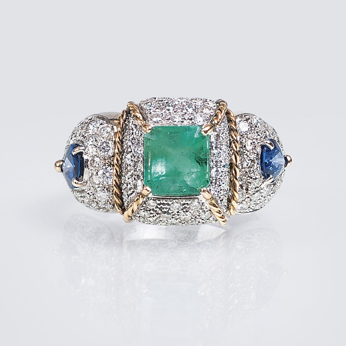 A Vintage Emerald Sapphire Ring with Diamonds