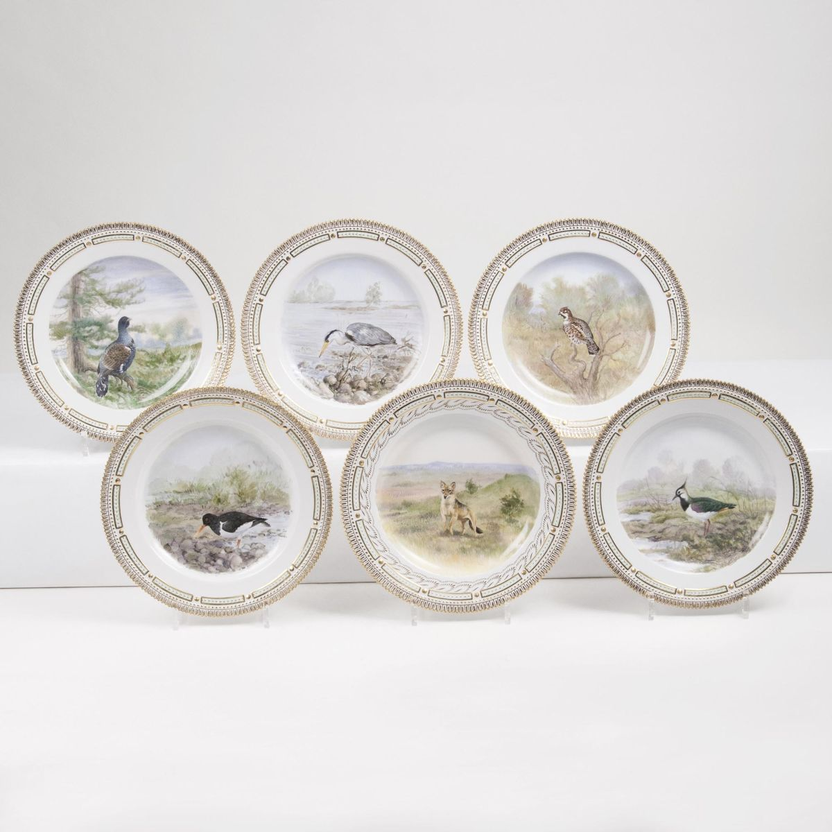 A Set of 6 Flora Danica Dinner Plates with Birds and Animal