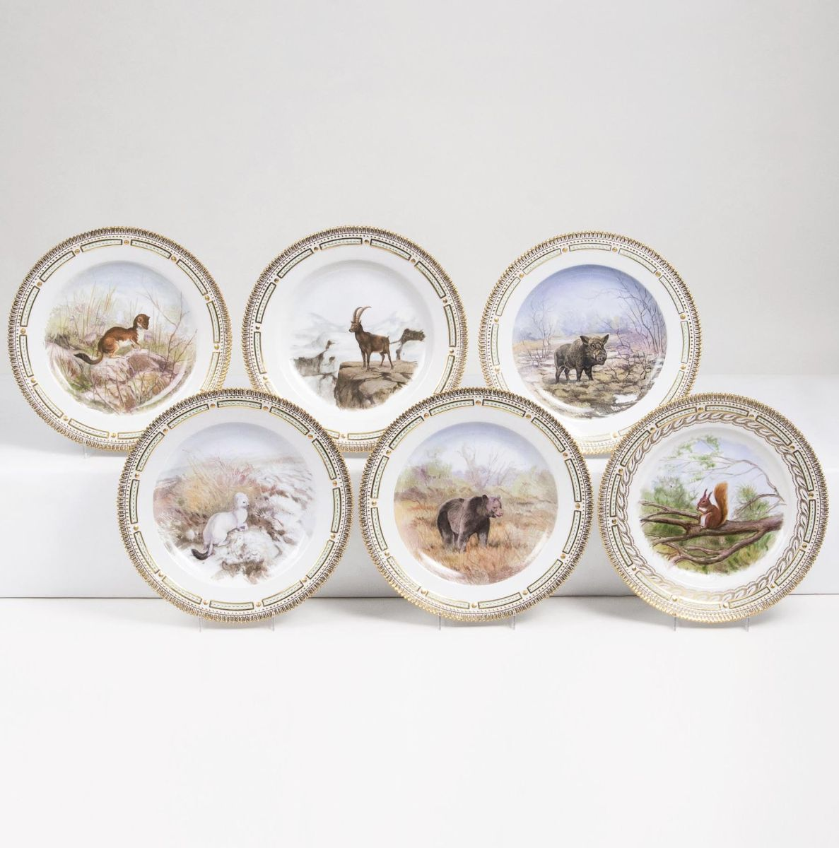 A Set of 6 Flora Danica Dinner Plates with Animals