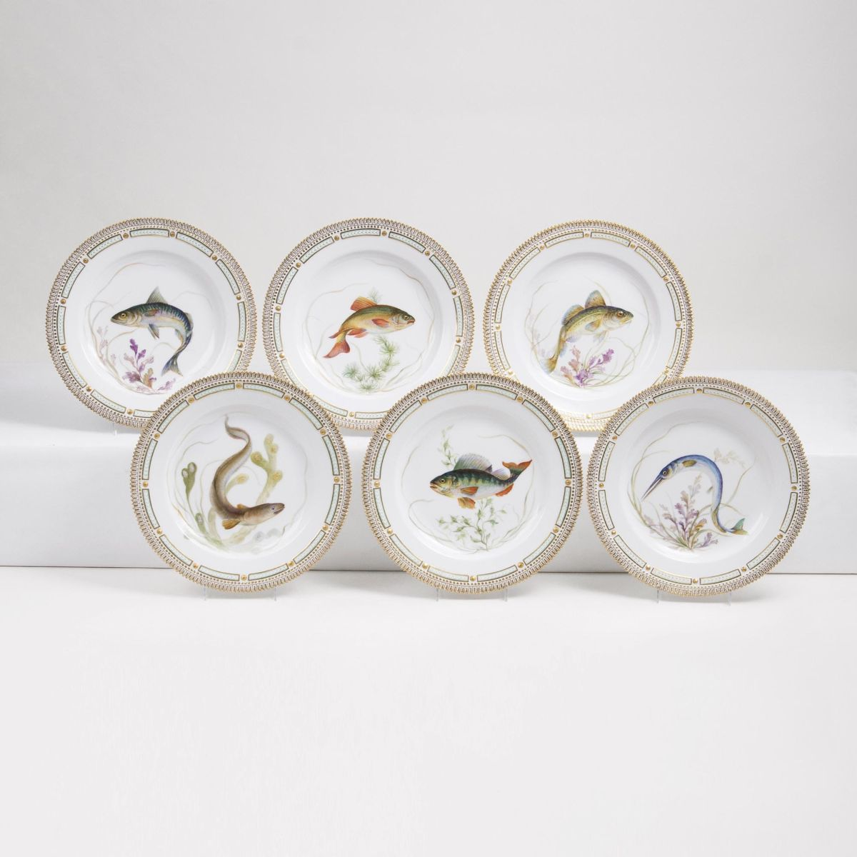 A Set of 6 Flora Danica Dinner Plates with Fish Specimens