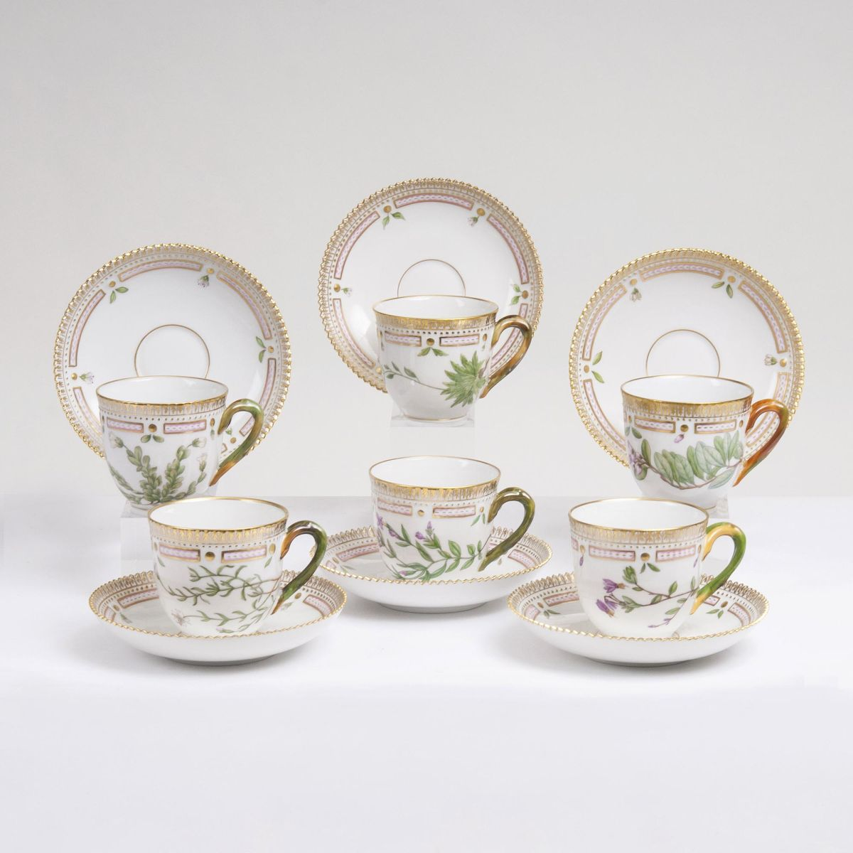 A Set of 6 Flora Danica Coffee Cups with Saucers
