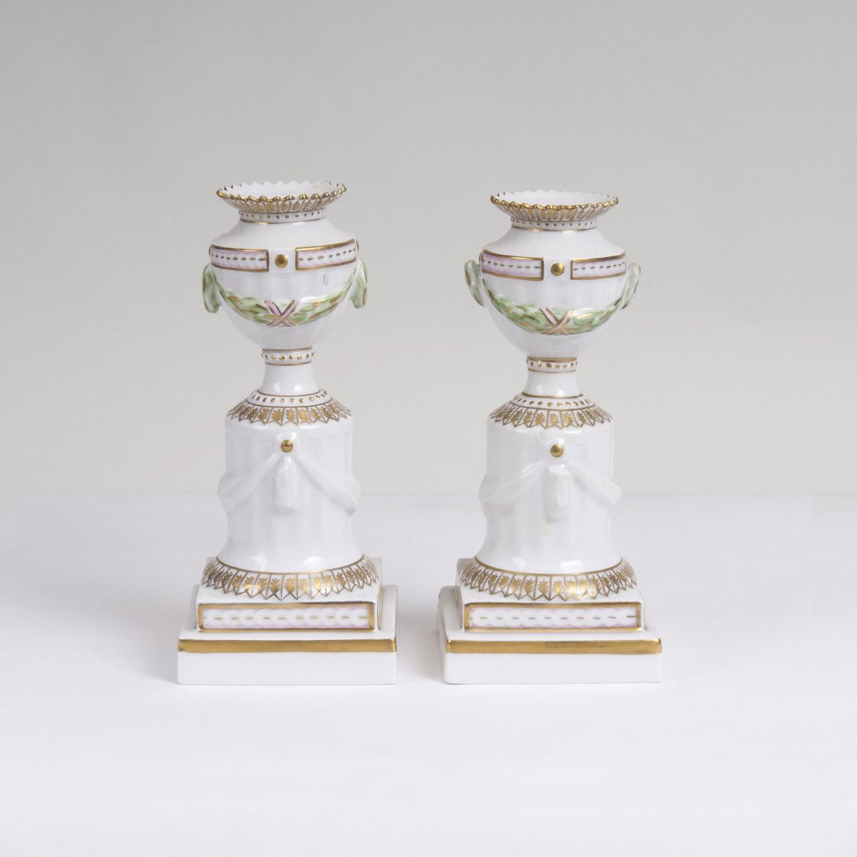 A Pair of small Flora Danica Candlesticks