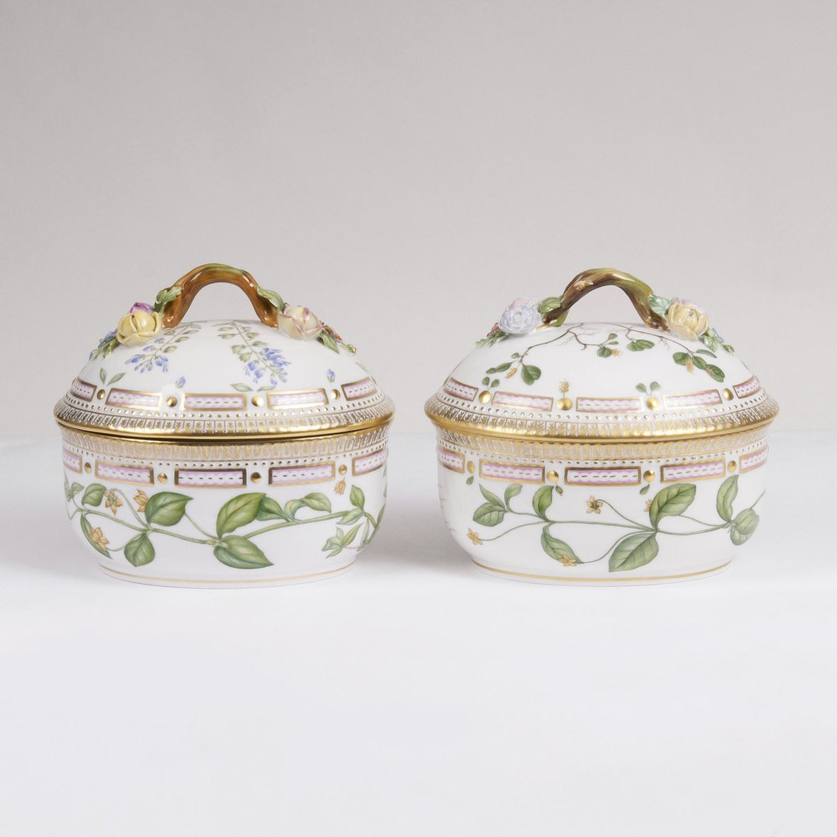 A Pair of Flora Danica Lidded Boxes of Chocolate