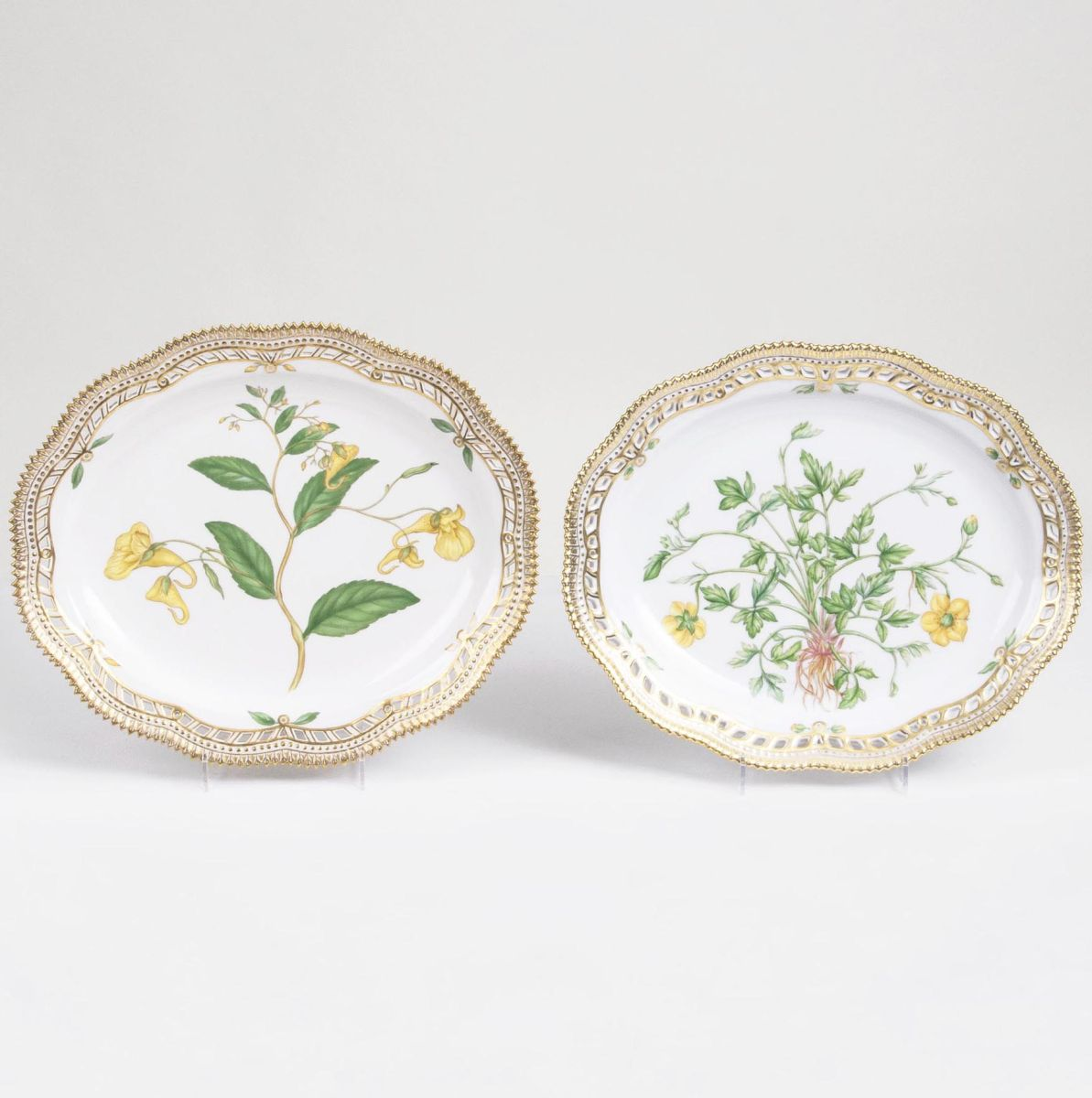 A Pair of small Oval Flora Danica Dishes with Botanical Specimens