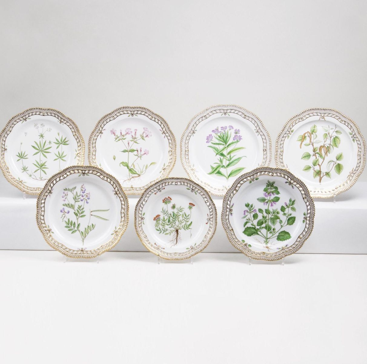A Set of 7 reticulated Flora Danica Dinner Plates with Botanical Specimens