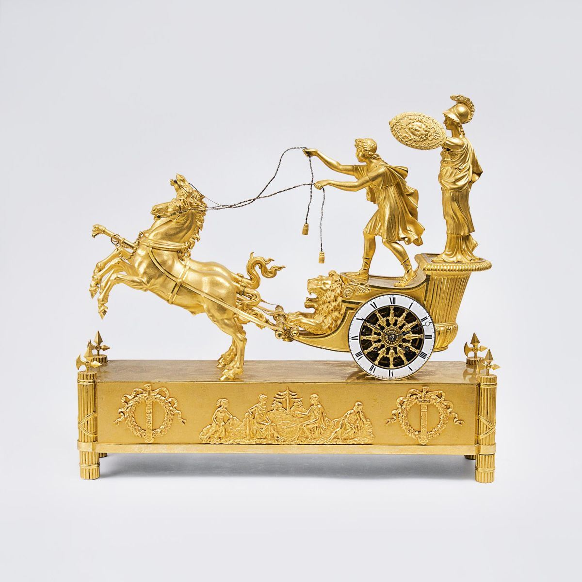 An opulent Empire Pendule 'Chariot of Telemachos'