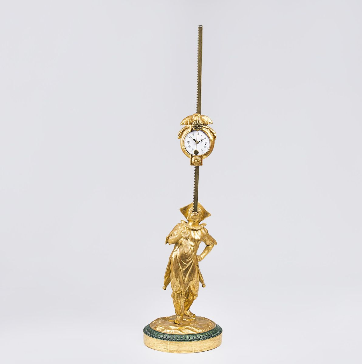 A rare Louis-Seize Rack Clock with a Sculpture of a Chinese