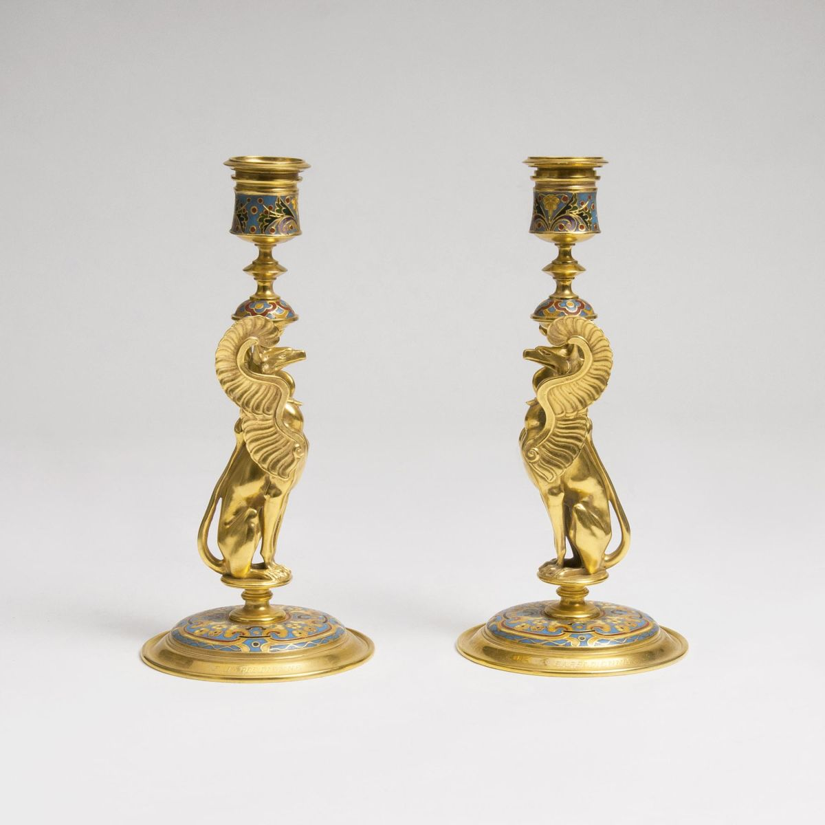 A Pair of Napoléon III Candleholder with Arabesque and Chimera