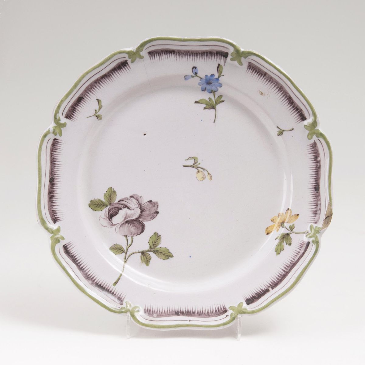 A Faience Plate with Flowers