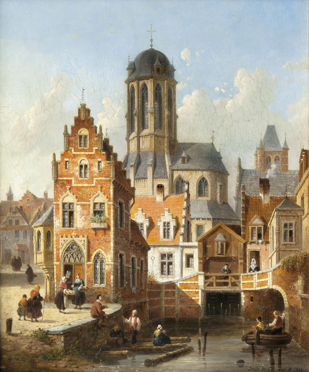 View of Mechelen with Notre Dame de Hanswijk