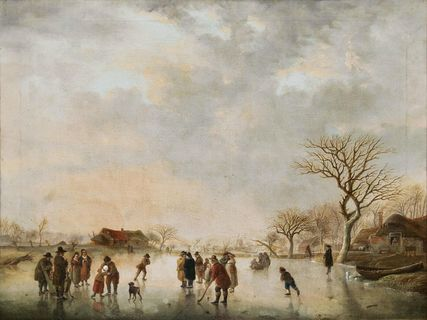 People making merry and playing hockey on the Ice
