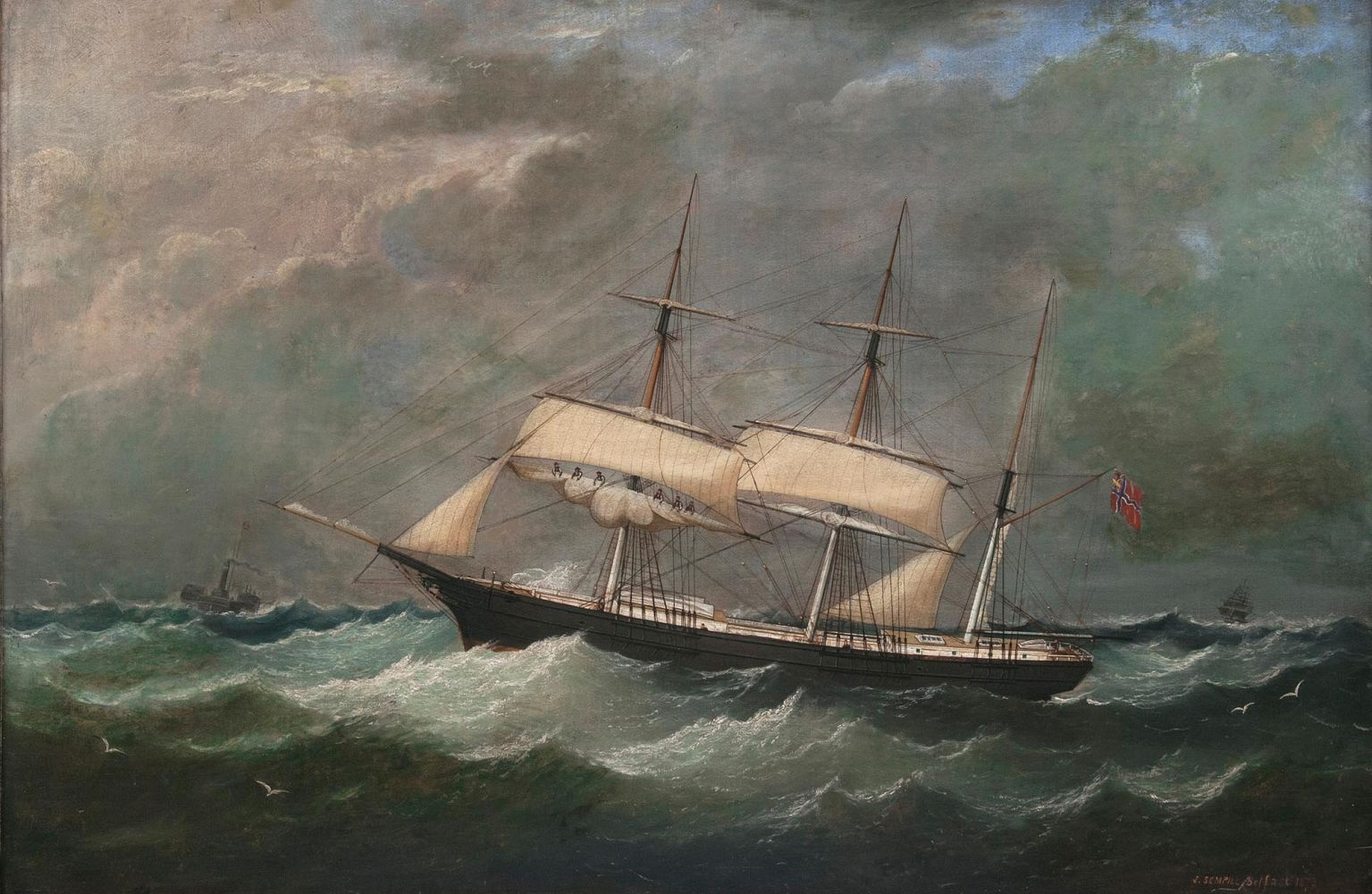A Norwegian Three-Master in a Gale