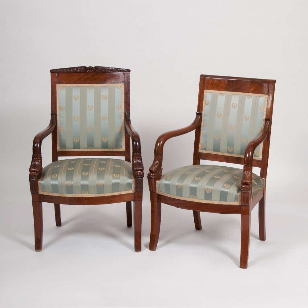 Two Charles X Armchairs with Dolphin Decor