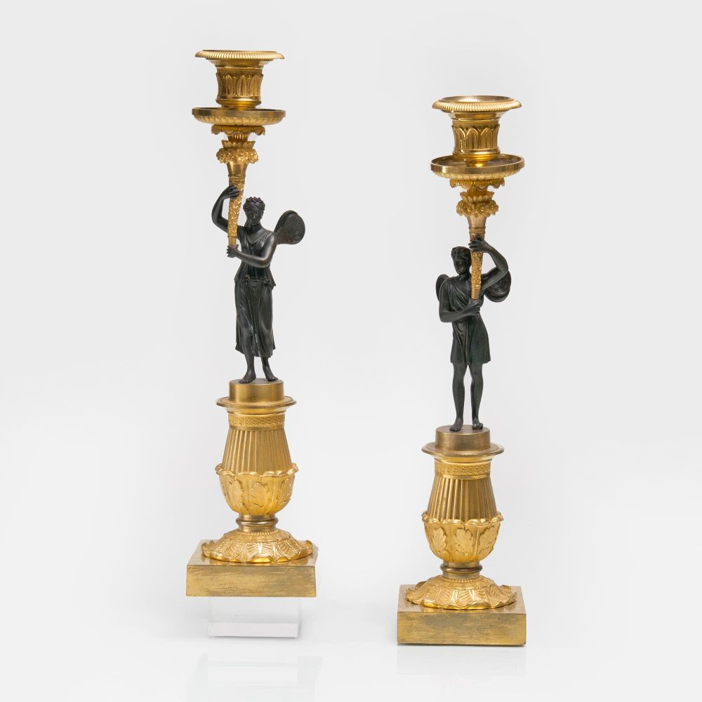 A Pair of fine Empire Candelabras with Hypnos and Psyche
