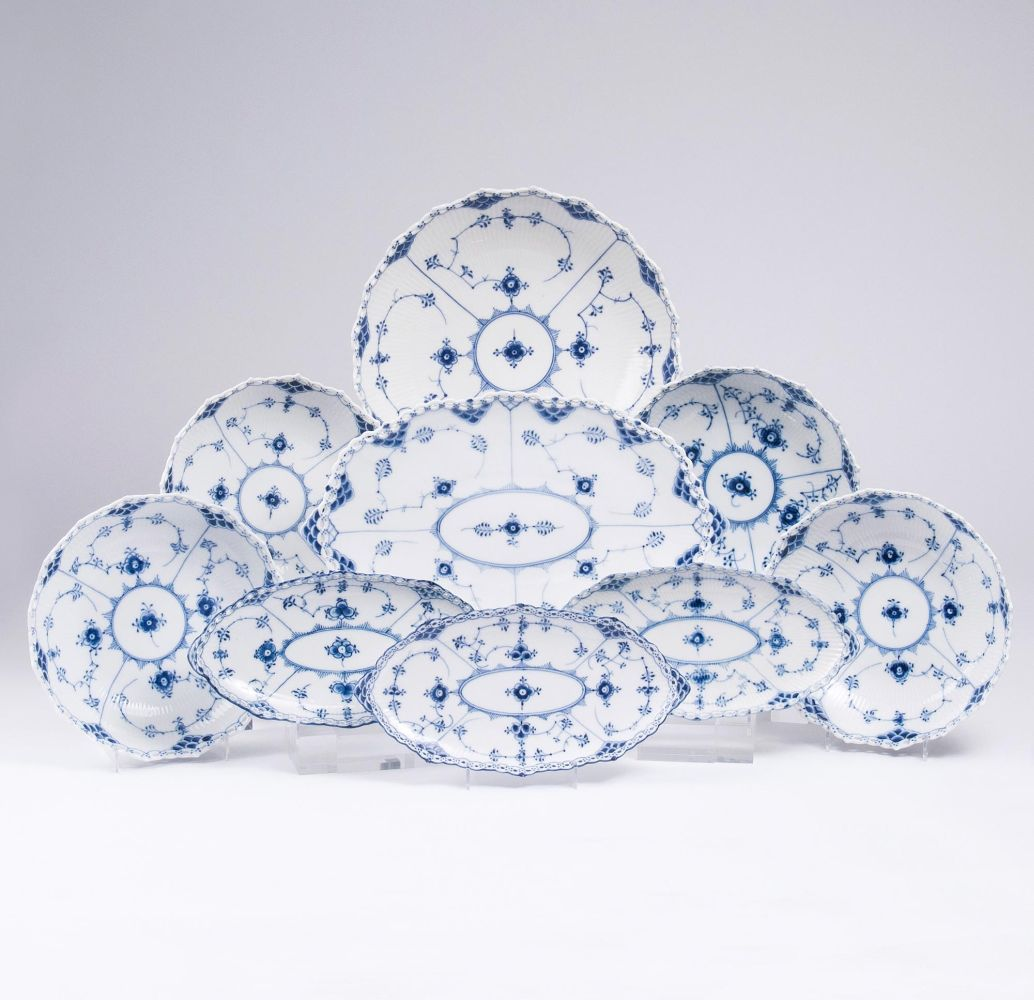 A Set of Royal Copenhagen Musselmalet  Round and Oval Bowls