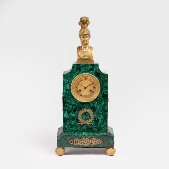 An Empire Malachit Pendule with antique-classical Bust of an Roman Emporer