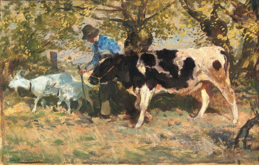 Farmer with Cow and Goats