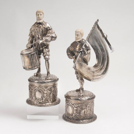 A Pair of Silver Figures 'Drummer' and 'Flag Bearer'