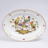 A Large Oval Platter with Parrots