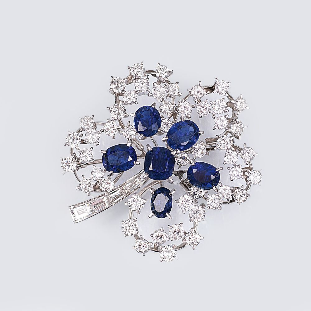 A Vintage Clove Brooch with Sapphires and Diamonds