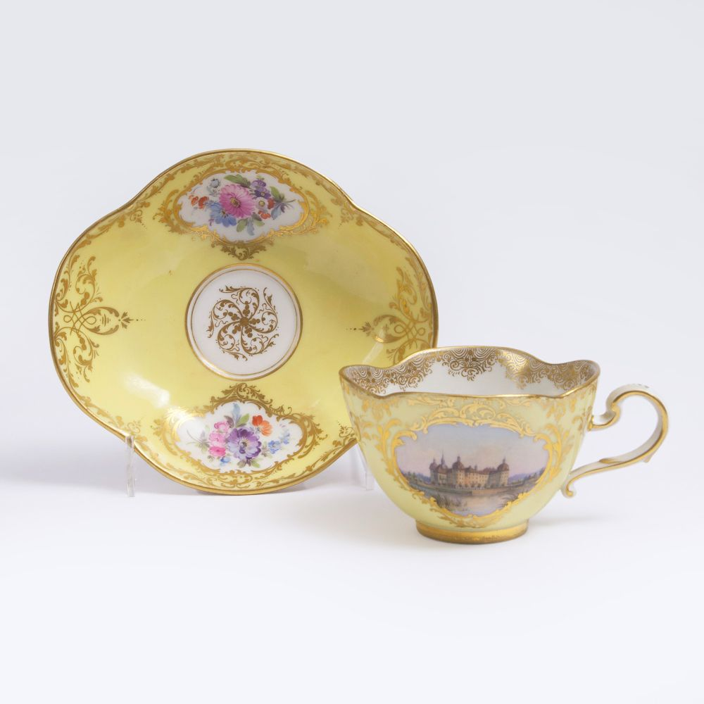 A Quatrefoil Cup with View of Moritzburg Castle Against Yellow Ground