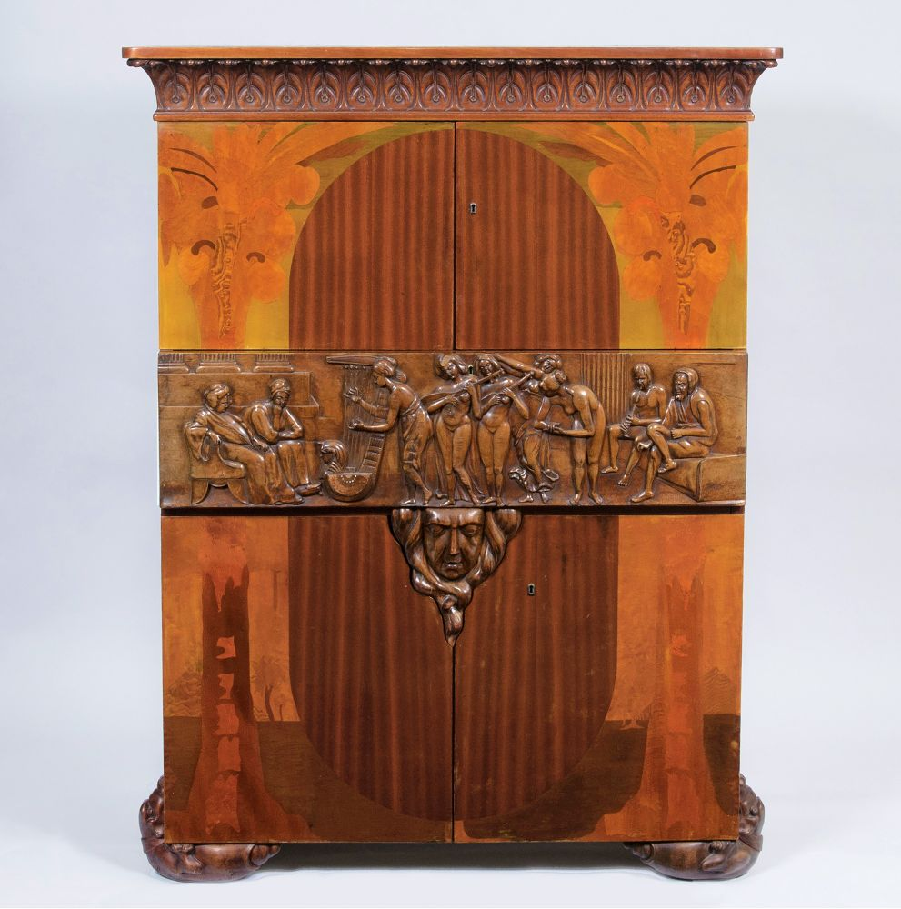 An Exceptional Art Deco Cabinet with Figural Decor