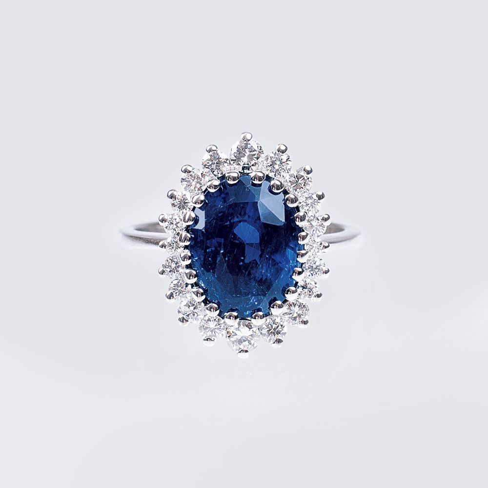 A Natural Sapphire Ring with Diamonds