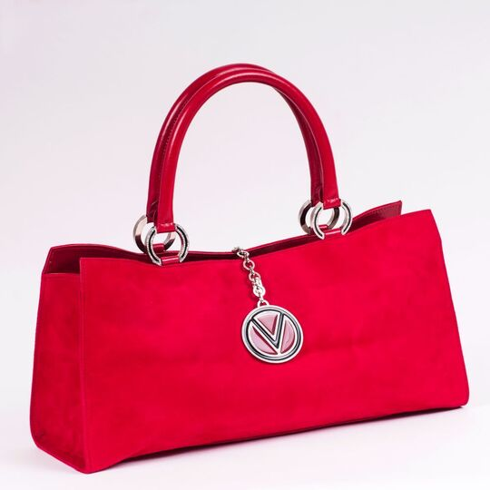 A Red Suede Tote Bag