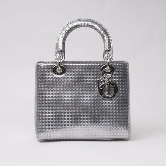 Lady Dior Bag Silver Perforated