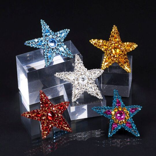 A Set of 5 sparkling Star Brooches 'Rive Gauche'