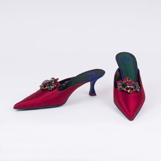 A Pair of Pantolettes with Strass Flower